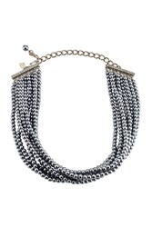 Kenneth Jay Lane Pearl Bead Choker Silver