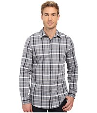 Perry Ellis Slim Shaded Plaid Shirt Dark Sapphire Men's Clothing Blue