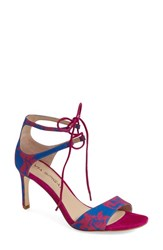 Women's Via Spiga 'Skylar' Open Toe Dress Sandal Lapis Fuschia Fabric