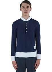 Thom Browne Classic Pique Long Sleeved Polo Sweater Navy