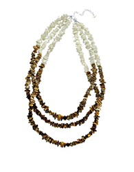Lord And Taylor Mother Of Pearl And Tiger Eye Three Row Necklace Brown