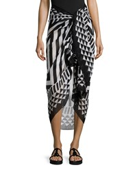 Zuma Geometric Summer Scarf Black White Theodora And Callum