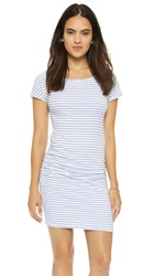 Sundry Boat Neck Ruched Dress White