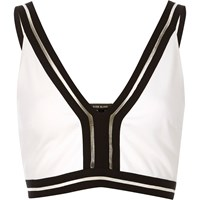 River Island Womens Cream Sporty Crop Top