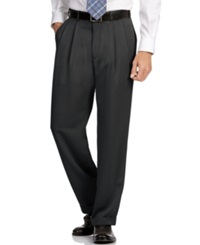 Perry Ellis Portfolio Classic Fit Double Pleat No Iron Melange Microfiber Dress Pants Caviar