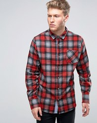 Brave Soul Large Check Shirt Red