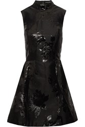 Markus Lupfer Eloise Fil Coupe Satin Mini Dress Black