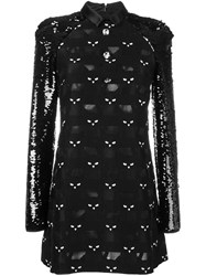 Giamba Cat Patched Mini Dress Black