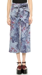 Suno Floral Print Denim Trousers