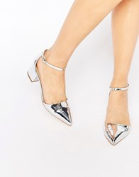 Truffle Collection Molly Ankle Strap Mid Heeled Shoes Silver