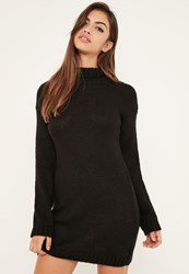 Missguided Black Roll Neck Slouchy Jumper Dress