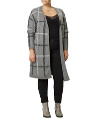Junarose Plaid Open Front Cardigan Grey