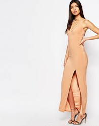 Club L Harness Detailed Maxi Dress Macaroon Tan