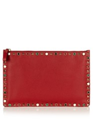 Valentino Rockstud Rolling Leather Pouch Red