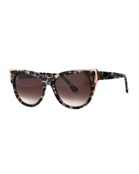 Thierry Lasry Epiphany Capped Cat Eye Sunglasses Gray Tortoise Gray Green