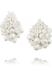 Fred Leighton 1960S 18 Karat White Gold Platinum Diamond And Pearl Clip Earrings