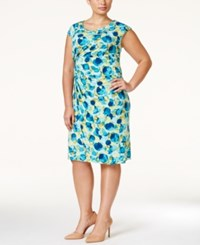 Connected Plus Size Printed Ruched Sheath Dress Turq Aqua