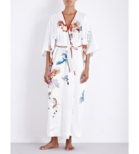 Meng Flower Print Silk Satin Kimono Robe White Placement