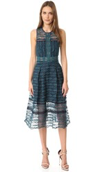 Jonathan Simkhai Mixed Embroidered Midi Dress Teal Navy