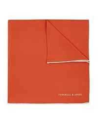 Turnbull And Asser Basic Solid Pocket Square With Border Orange