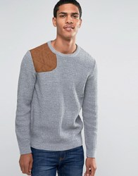 Asos Textured Crew Neck Jumper With Hunting Patch Grey