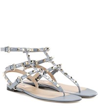 Valentino Rockstud Patent Leather Sandals Grey