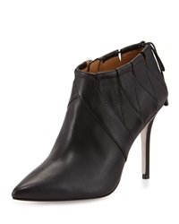 Badgley Mischka Prize Pointed Toe Leather Bootie Black