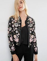 Needle And Thread Embroidery Lace Bomber Jacket Black