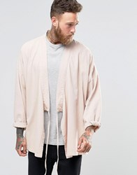 Asos Denim Kimono Shirt With Tie Up Front And Long Sleeves In Pink Pink