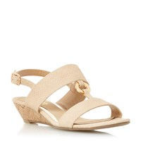 Head Over Heels Kalipso Ring Trim Mini Wedge Sandals Nude