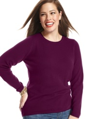 Charter Club Plus Size Cashmere Crew Neck Sweater In 14 Colors Only At Macy's Black Cherry