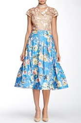 Gracia Floral Printed Flare Skirt Blue
