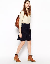 Sessun Manuka Printed Skirt With Rope Belt Navy
