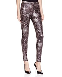 Hue Marbled Metallic Faux Suede Leggings Black