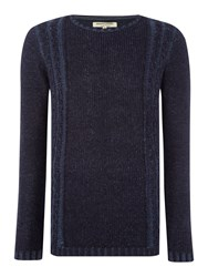 Anerkjendt Lemmy Crew Neck Panelled Cable Jumper Blue