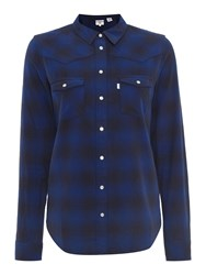 Levi's Long Sleeve Plaid Shirt In Liquorice Original Navy