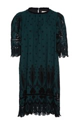 Sea Floral Cotton Eyelet T Shirt Dress Dark Green