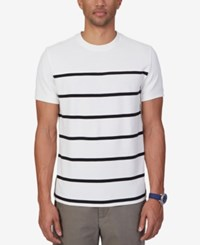 Nautica Men's Slim Fit Stripe T Shirt Marshmallow