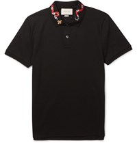 Gucci Slim Fit Embroidered Cotton Pique Polo Shirt Black
