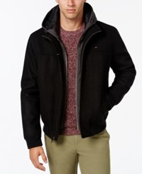 Tommy Hilfiger Men's Layered Hooded Tech Jacket Black