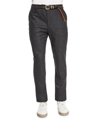 Brunello Cucinelli Flannel Cargo Pants Dark Gray