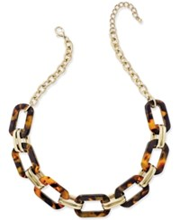 Charter Club Gold Tone Tortoiseshell Look Large Link Statement Necklace Only At Macy's