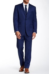 English Laundry Blue Sharkskin Two Button Notch Lapel Wool Suit