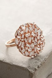 Anthropologie White Diamond Ring In 18K Gold Copper