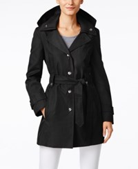 London Fog Snap Button Hooded Trench Coat Black