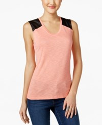 Calvin Klein Jeans Mixed Media Tank Top Shell Pink