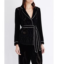 Alberta Ferretti Floral Embroidered Velvet Jacket Black