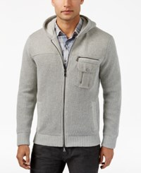 Inc International Concepts Men's Zip Front Hoodie With Faux Fur Lining Only At Macy's Light Grey Heather