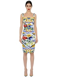 Dolce And Gabbana Maiolica Ruched Silk Charmeuse Dress