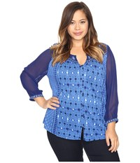 Lucky Brand Plus Size Border Print Top Blue Multi Women's Clothing